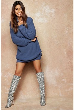 Womens Denim-blue Roll Neck Sweater Dress