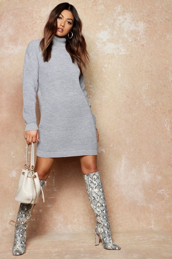 Womens Silver Roll Neck Jumper Dress