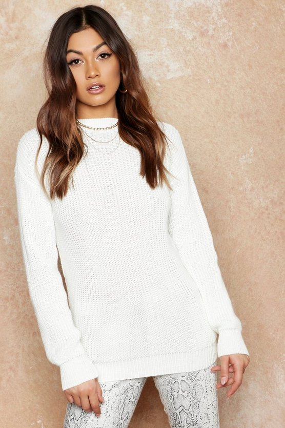 Womens Ivory Oversized Jumper