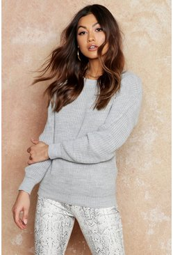Womens Silver Oversized Sweater