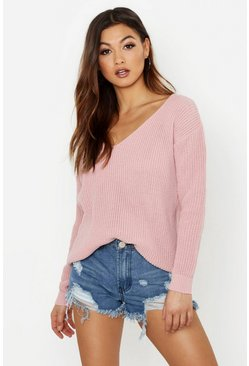 Womens Blush Oversized V Neck Sweater