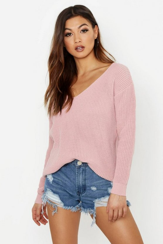 Womens Blush Oversized V Neck Jumper