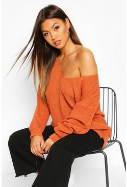Toffee Oversized V Neck Jumper