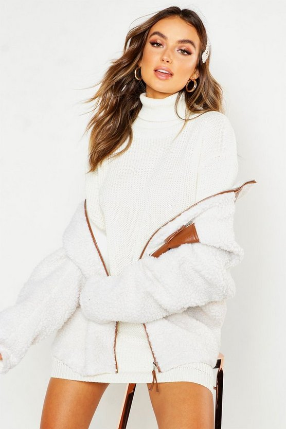 Womens Ivory Roll Neck Jumper Dress