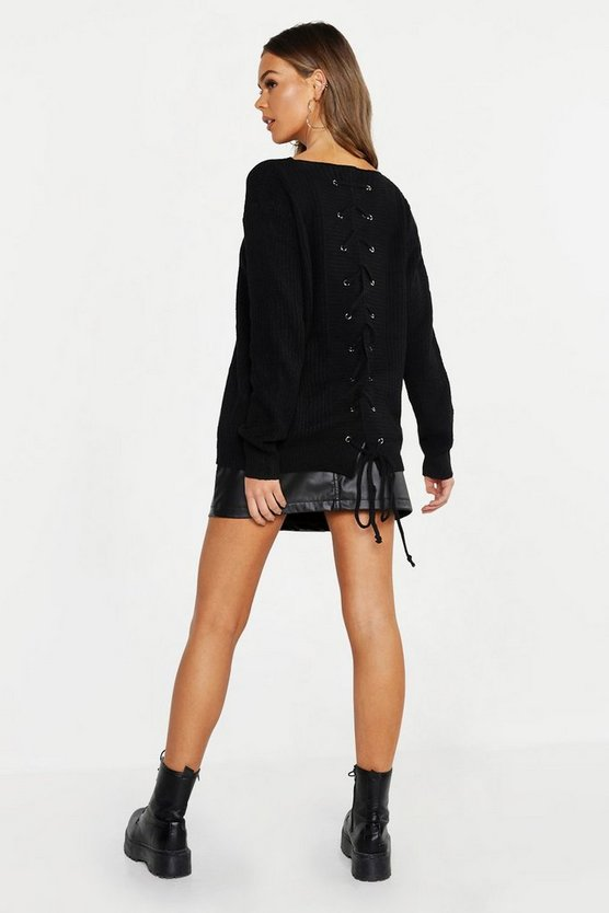 Womens Black Lace Up Back Jumper