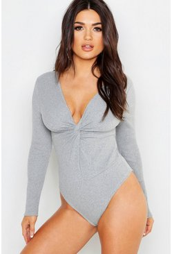 Twist Front Rib Knit Bodysuit, Grey, Donna