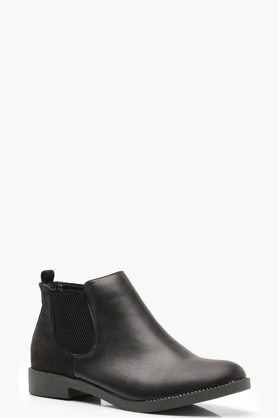 Womens Black Mixed Material Chelsea Boots