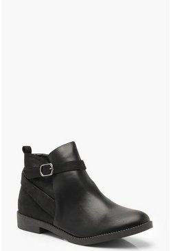 Womens Black Mixed Material Buckle Chelsea Boots