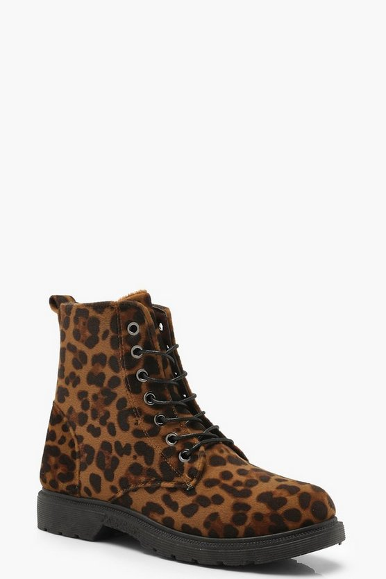 Leopard Print Lace Up Hiker Boots