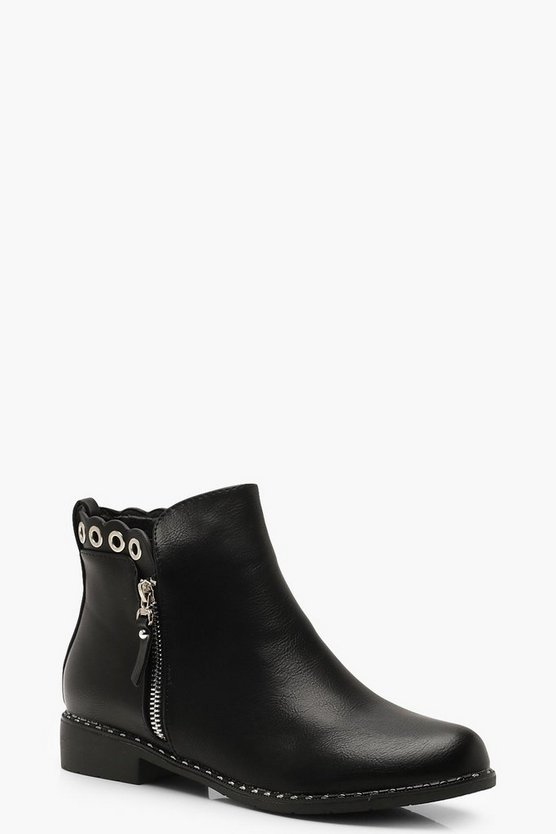 Womens Black Zip Up Eyelet Detail Chelsea Boots