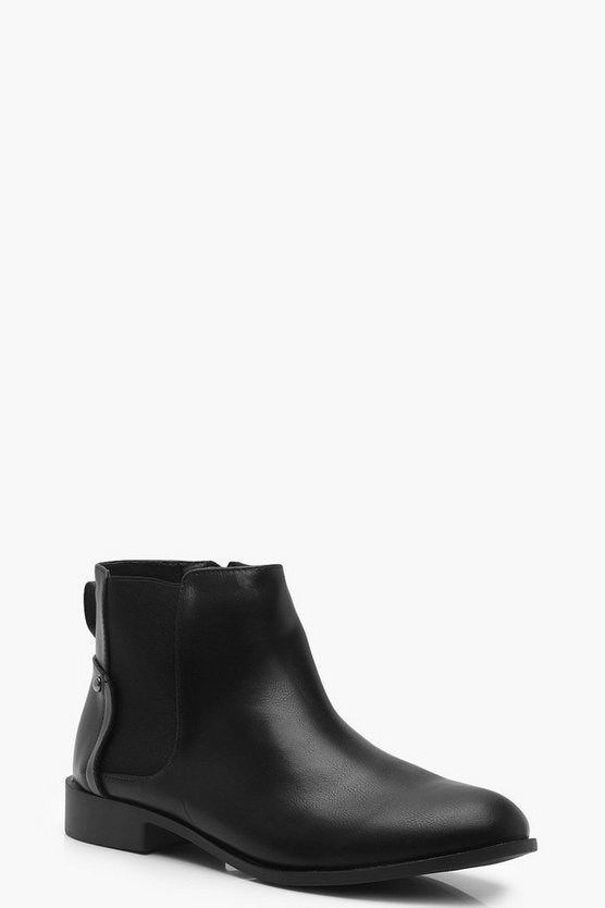 Womens Black Stud Detail Chelsea Boots
