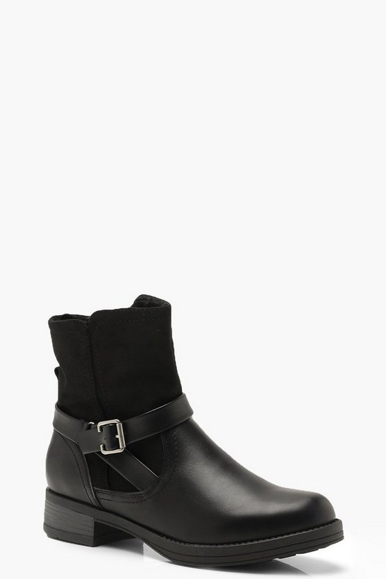 Fleece Lined Buckle Detail Biker Boots