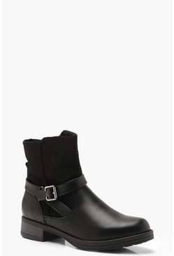 Womens Black Fleece Lined Buckle Detail Biker Boots