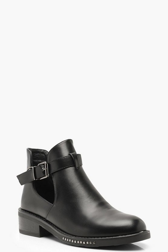 Womens Black Chain Detail Chelsea Boots