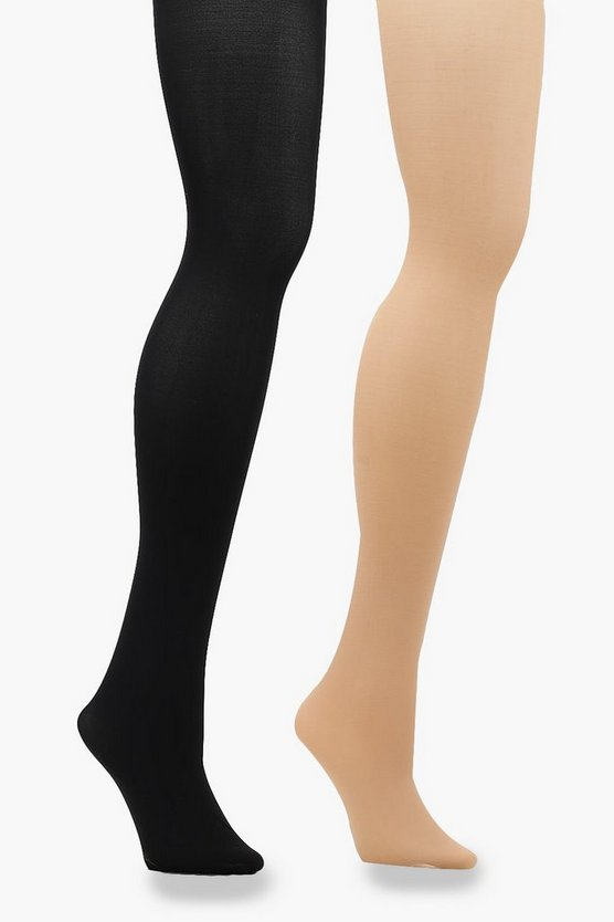 2 paires de collants en Microfibre 40 Deniers Noir & Couleur chair, Multi, Femme