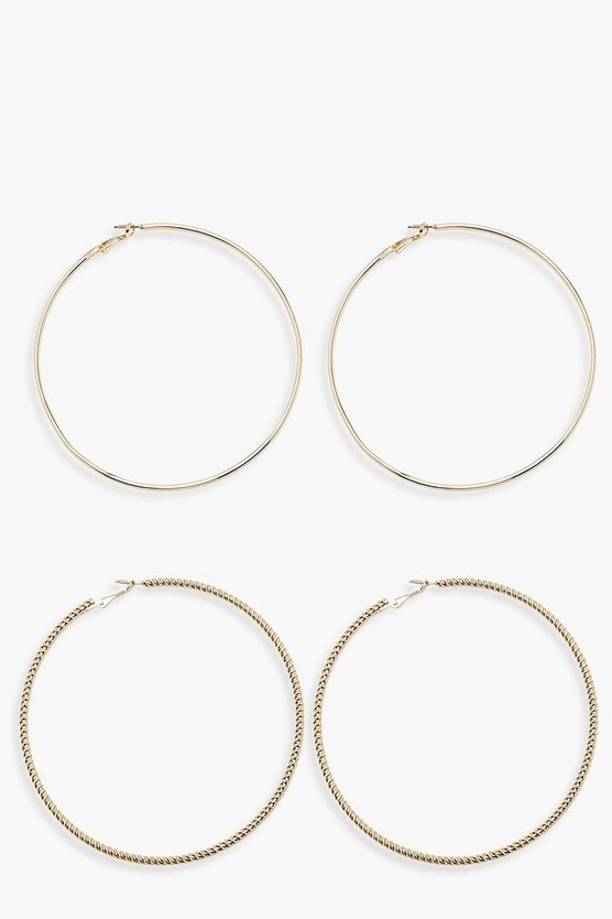 Gold 10cm Twist & Plain Hoop Pack