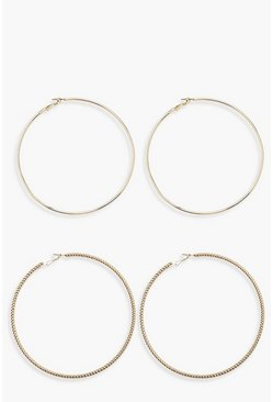 Womens Gold 10cm Twist & Plain Hoop Pack