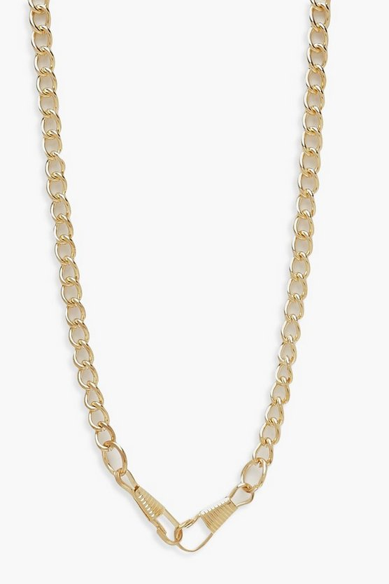 Linked Chunky Chain Necklace, Gold, Donna