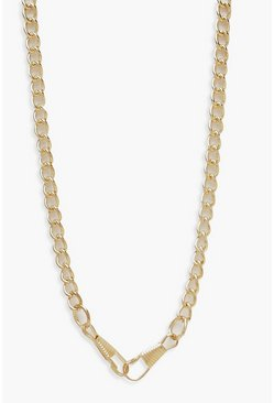 Womens Gold Linked Chunky Chain Necklace