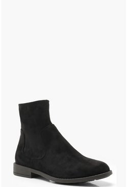 Womens Black Sock Detail Chelsea Boots