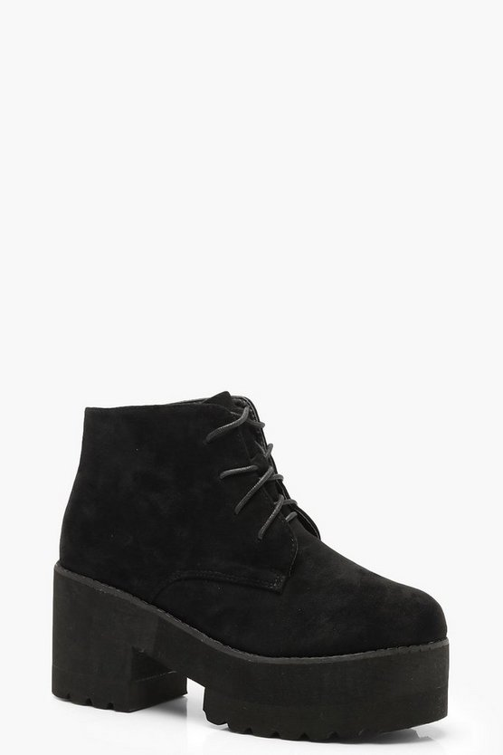 Chunky Sole Lace Up Chelsea Boots
