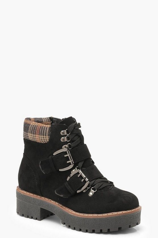 Black Chunky Sole Check Collar Hiker Boots