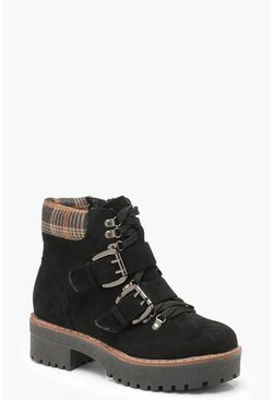 Womens Black Chunky Sole Check Collar Hiker Boots