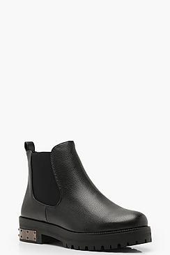 Metal Clip Detail Chelsea Boots