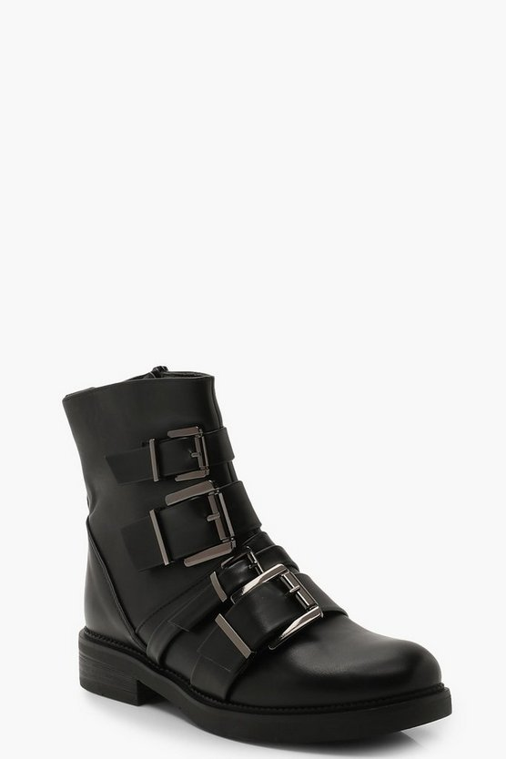 Womens Black Multi Buckle Biker Boots