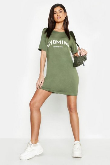 Womens Khaki Wyoming Slogan Oversize T-Shirt Dress