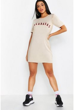 Womens Stone Calabasas Slogan T-Shirt Dress