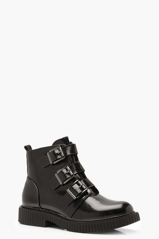 Three Buckle Biker Boots