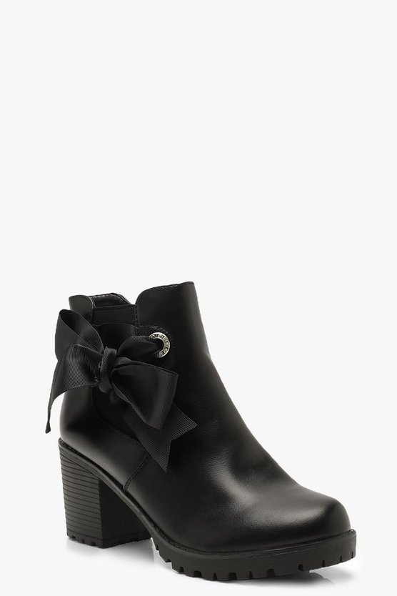 Womens Black Ribbon Detail Block Heel Chelsea Boots