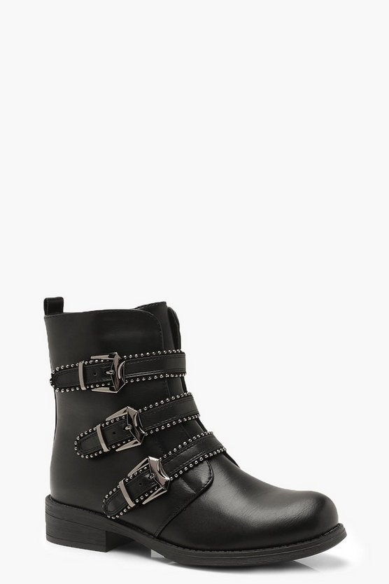 Three Buckle Studded Biker Boots