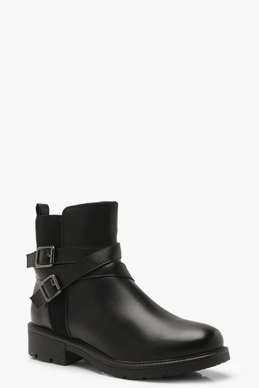 Womens Black Buckle Detail Flat Heel Chelsea Boots