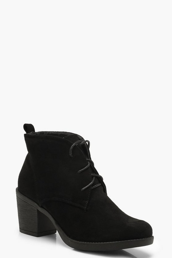 Womens Black Lace Up Block Heel Hiker Boots