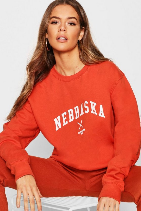 Rust Nebraska Slogan Sweat