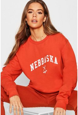 Nebraska Slogan Sweat, Rust, Donna