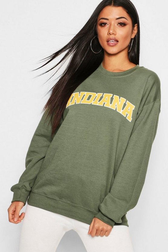 Womens Khaki Indiana Slogan Sweat