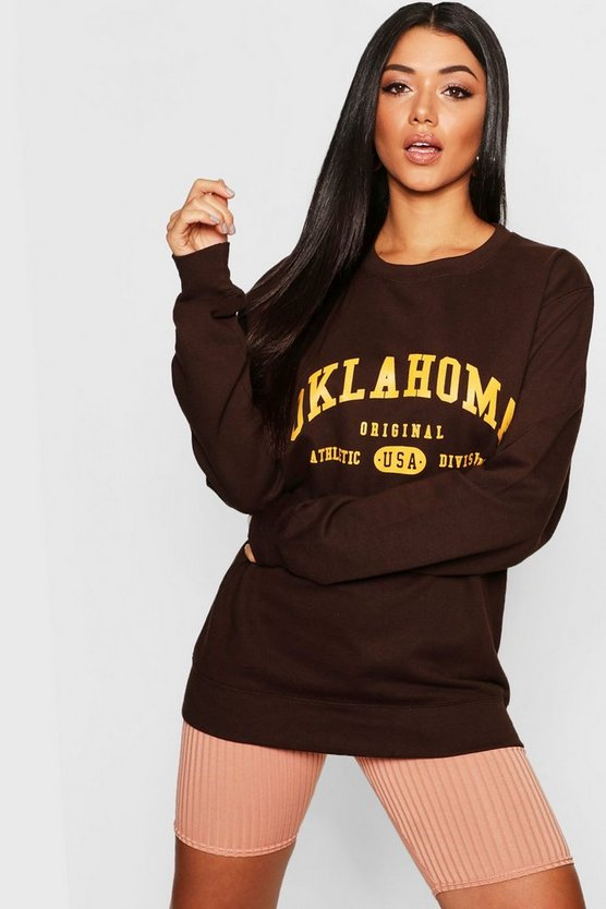 Womens Chocolate Oklahoma Slogan Sweat