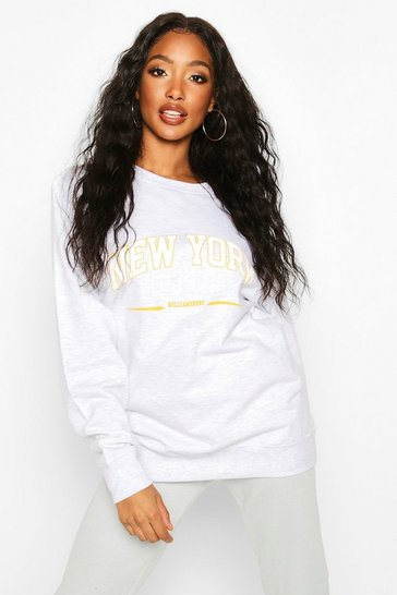 Grey marl New York Oversized Slogan Sweat