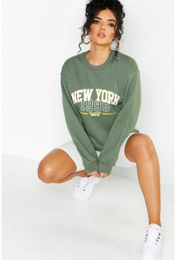 Sweatshirt mit Slogan New York, Khaki, Damen