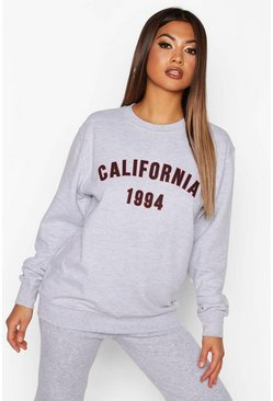 Womens Grey marl California Slogan Sweat