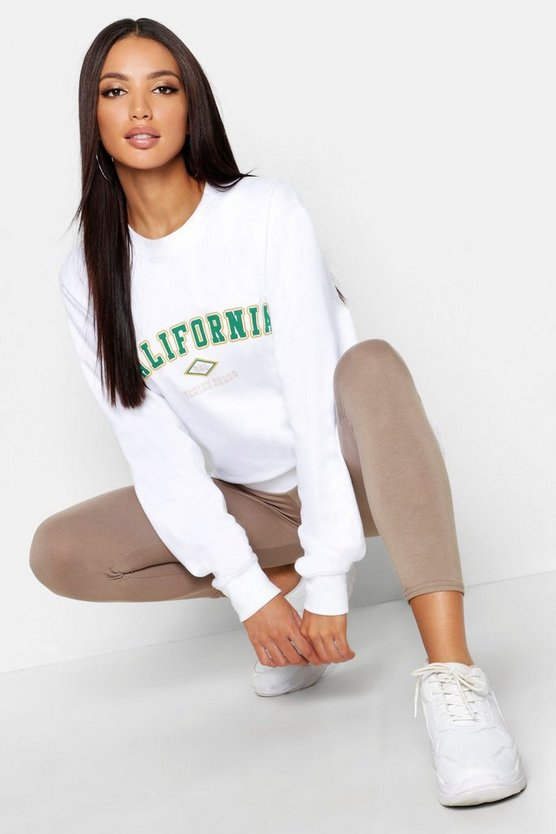 Womens White California Slogan Sweat
