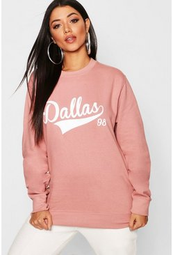 Womens Rose Dallas Slogan Sweat