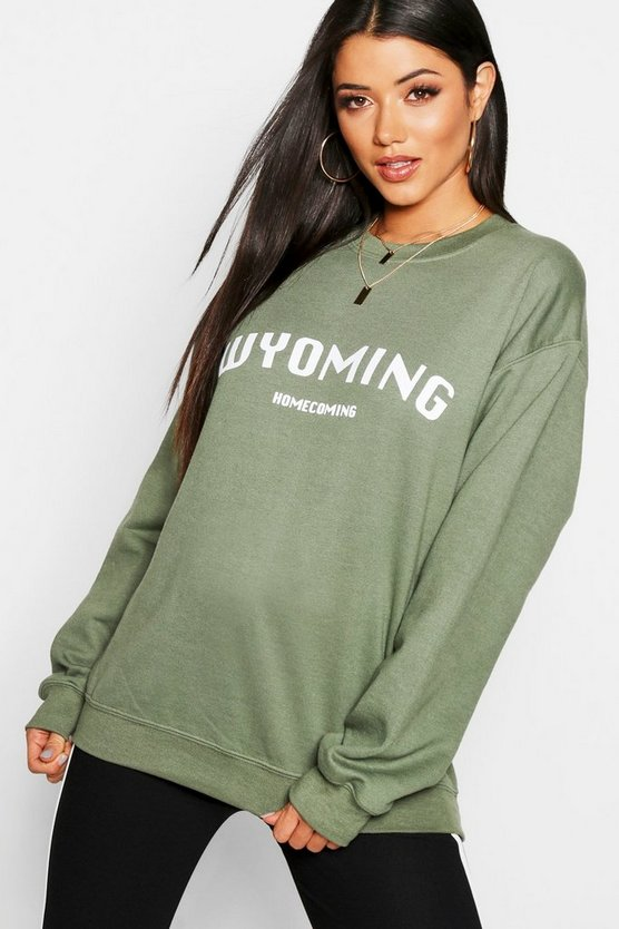 Sweatshirt mit Slogan Wyoming, Khaki, Damen