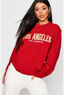Womens Burgundy Los Angeles Slogan Sweat
