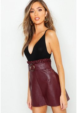 Oxblood Leather Look Belted Paper Bag Shorts