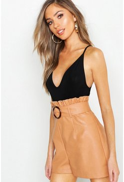 Womens Toffee Leather Look Belted Paper Bag Shorts