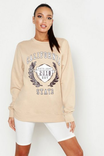 Womens Nude California State Slogan Sweat